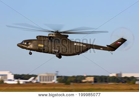 Zhukovsky, Moscow Region, Russia - August 21, 2015: Mil Mi-26T2 2008 YELLOW of russian air force perfoming demonstration flight in Zhukovsky during MAKS-2015 airshow.