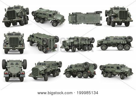Truck military green armored army transport set. 3D rendering