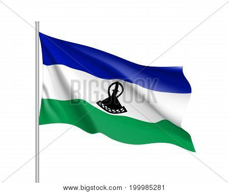 Lesotho flag. Illustration of African country waving flag on flagpole. Vector 3d icon isolated on white background. Realistic illustration