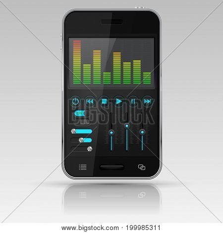 Digital equalizer on smartphone screen. Vector 3d illustration