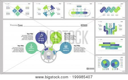 Infographic design set can be used for workflow layout, diagram, annual report, presentation, web design. Business and workflow concept with process, bar and percentage charts.