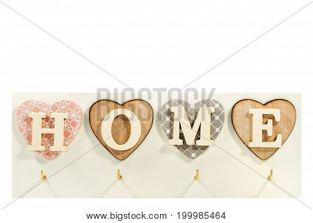 Beautiful art housekeeper with home letters in hearts isolated on white background