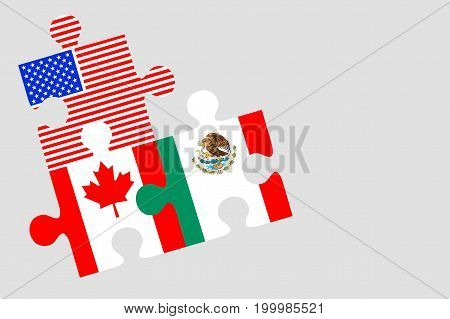 Canada Mexico and US Flag Puzzle Pieces conceptual image for Nafta agreement