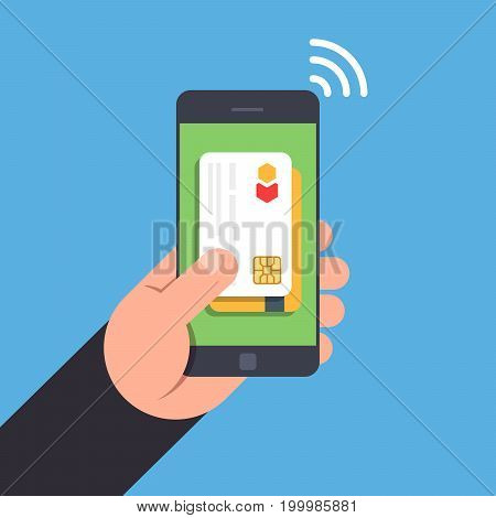 NFC tehnology. Non-contact payment by smartphone. Bank card on the smartphone screen. Mobile phone in a man hand. Flat vector illustration. Top view