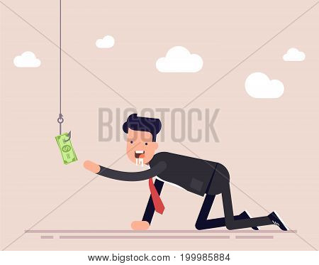 Businessman or manager creeps for money. A man ready for anything for the sake of money. A trap for a person, money on a hook. Vector illustration isolated on color background