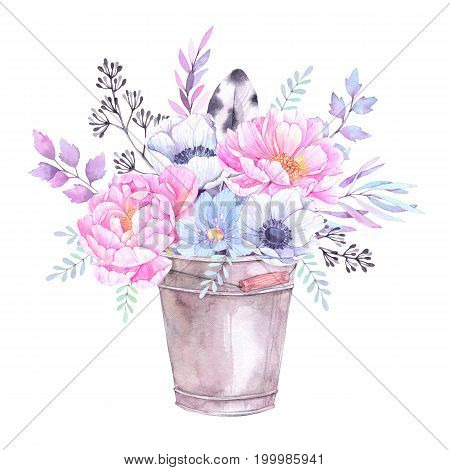 Watercolor illustration. Bucket with Floral elements. Bouquet with peonies anemones blue flowers leaves and branches. Perfect for Wedding invitation greeting card prints or posters.