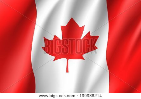 Flag Canada realistic icon. State insignia of the nation in realistic style on the entire page. Waving state flag. National symbol in the form of a vector illustration