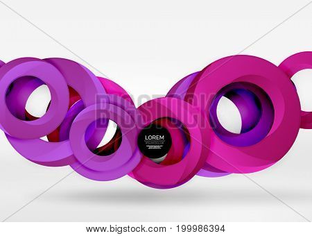 Modern 3d ring composition in grey and white space, abstract background