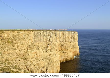 Cape St. Vincent cliffs on the Algarve coast of Portugal