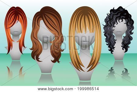 Female long hair wigs in natural colors