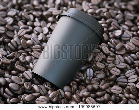 Black takeaway cup in the brown coffee beans. 3d rendering