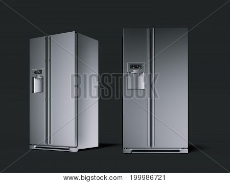 Two silver modern refrigerator in the black studio. 3d rendering
