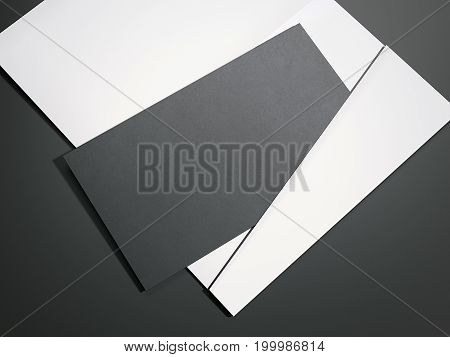 White envelope with black blank sheet on dark floor. 3d rendering