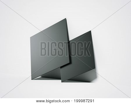 Two black blank canvases in bright interior. 3d rendering