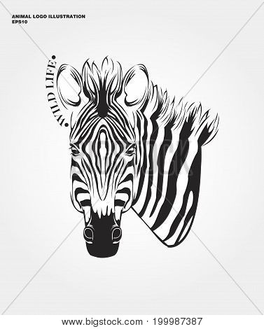 abstract animal logo. Hipster wild animal print for for T-shirts and other apparel. Icon Difference - Zebra