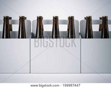 Blank packages with brown beer bottles. 3d rendering