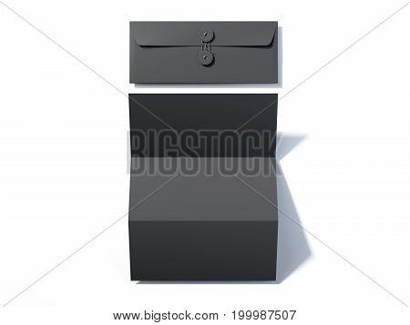 Blank leaflet and black envelope on bright floor. 3d rendering