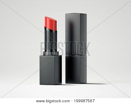 Red lipstick and black box in bright studio. 3d rendering