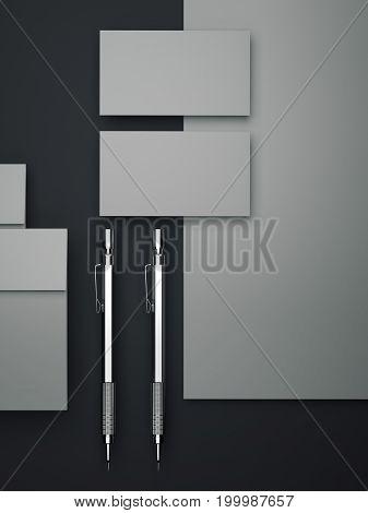 Gray branding mockup on dark floor. 3d rendering