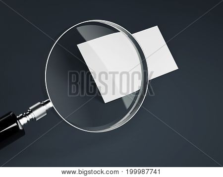 Magnifier and blank white business card on dark floor. 3d rendering