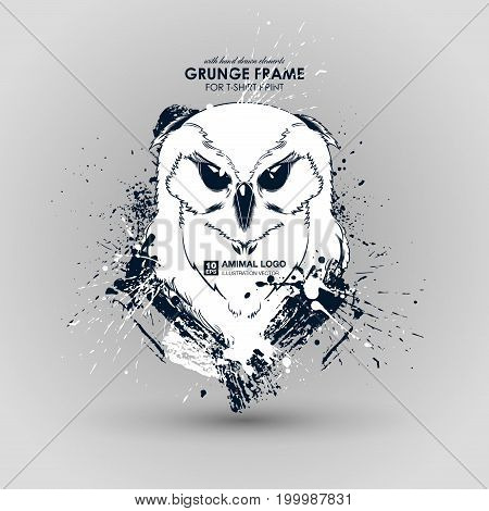 Abstract grunge animal print for t-shirt. Owl modern street style attributes. Vector art. Owl head for poster. HIPSTER print for t-shirt.