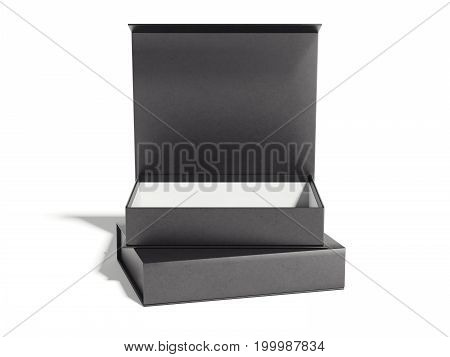 Black opened luxury box on bright floor. 3d rendering