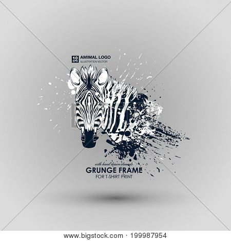 Abstract grunge animal print for t-shirt. Zebra modern street style attributes. Vector art. Zebra head for poster. HIPSTER print for t-shirt.