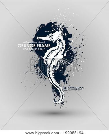 Abstract grunge animal print for t-shirt. Sea Horse modern street style attributes. Vector art. Sea Horse for poster. HIPSTER print for t-shirt.