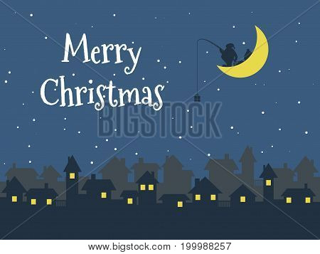 Night Christmas town, Santa Claus with gifts on the moon, Merry Christmas