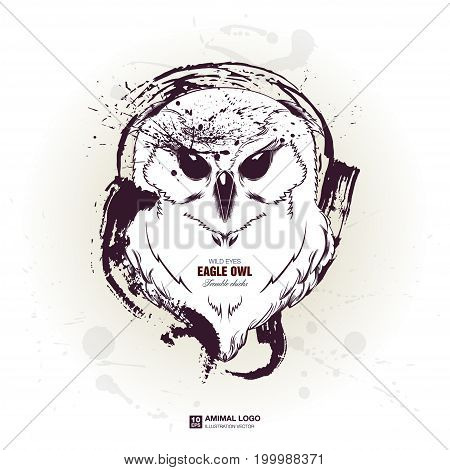 abstract animal grunge logo. HIPSTER print for t-shirt. Animal modern street style attributes. Vector art. Owl head for poster.