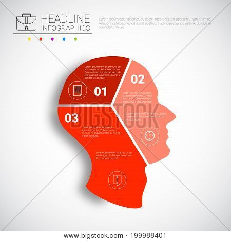 Headline Infographic Design Head Steps Business Data Graphic Collection Presentation Copy Space Vector Illustration