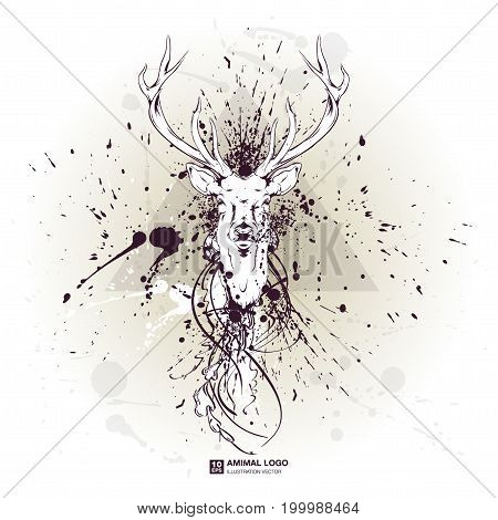 abstract animal grunge logo. HIPSTER print for t-shirt. Animal modern street style attributes. Vector art. Deer, elk head for poster.