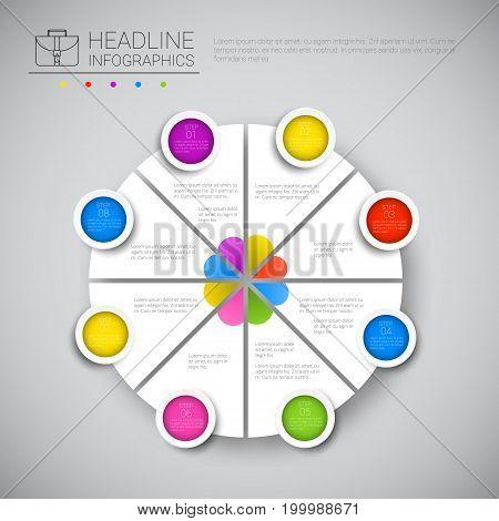 Headline Infographic Chart Pie Diagram Design Business Data Graphic Collection Presentation Copy Space Vector Illustration