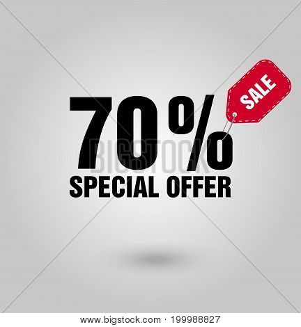 Special offer 70 sale minimalism. Sale icon vecto. Sale icon flat for app or web