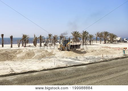 Dubai, United Arab Emirates - May 03, 2017: Heavy Duty Vehicle At The Construction Site Along The Ro