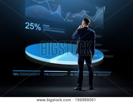 business, people and statistics concept - businessman in suit looking at virtual pie chart hologram over black background