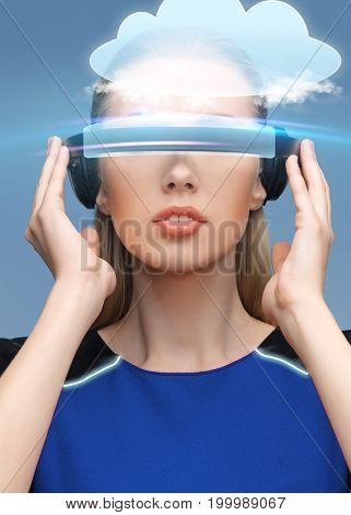 augmented reality, science, technology and people concept - beautiful woman in futuristic 3d glasses with virtual cloud projection over blue background
