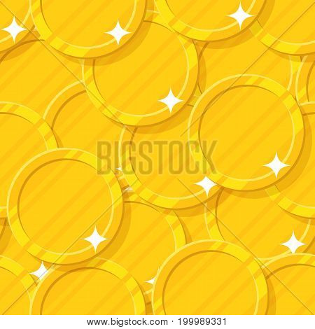 Golden coin seamless pattern. Budget information, current financial position, money and possessions decoration. Cartoon vector illustration