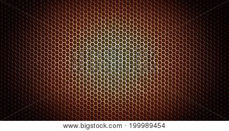 Closeup of holes in metal textured background