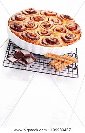 delicious homemade cinnamon and chocolate rolls - sweet food