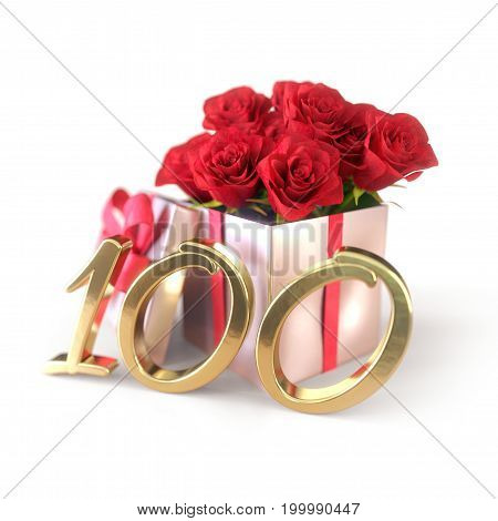 birthday concept with red roses in gift isolated on white background. 3D render - hundredth birthday. 100th