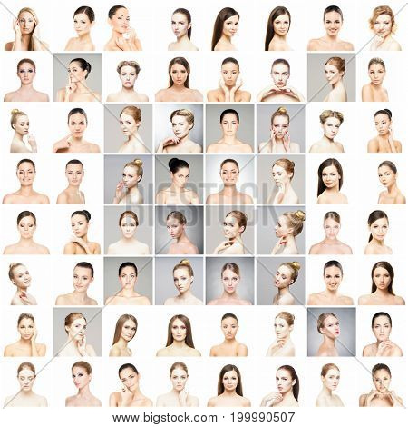 Beautiful, healthy and young female portraits collection. Collage of different women faces. Face lifting, skincare, plastic surgery and make-up concept.