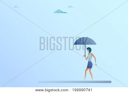 Business Woman Hold Umbrella Stand Rain Protection Security Concept Flat Vector Illustration