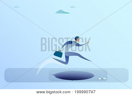 Businessman Jump Over Gap To Success Business Man Risk Concept Flat Vector Illustration