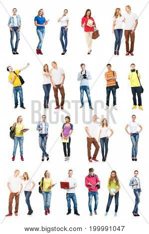 Group of happy students. Collection set isolated on a white background.