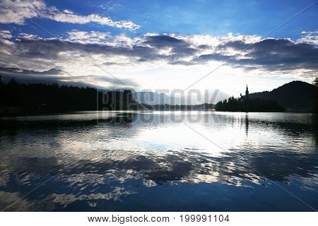 Sunrise light over Bled Lake, Slovenia, Europe