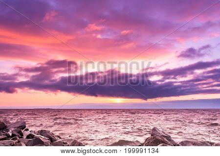 Dusk Rocks Bright Horizon
