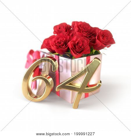 birthday concept with red roses in gift isolated on white background. 3D render - sixty-fourth. 64th.