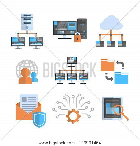 Data Connection Icons Set Cloud Computer Protection Hosting Server Database Synchronize Technology Concept Vector Illustration