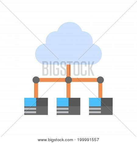 Cloud Data Center Icon Computer Connection Hosting Server Database Synchronize Technology Vector Illustration